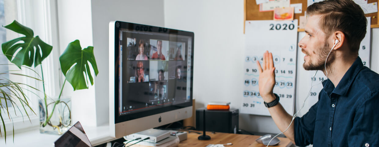 Man on video call meeting, working remotely
